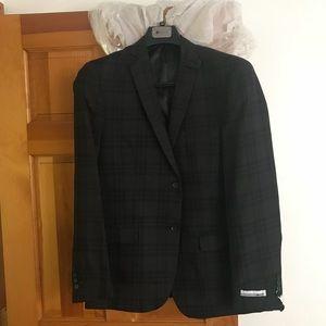 Other - NWT Men's charcoal grey plaid blazer